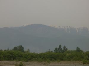 北アルプスの山々(バスの中より撮影)