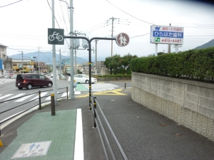 自転車道は設置されているが危険な交差点(福岡市西区)