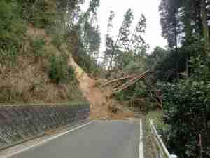 広域基幹林道の土砂崩壊現場