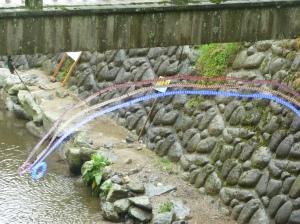 小水力発電によるLEDの虹
