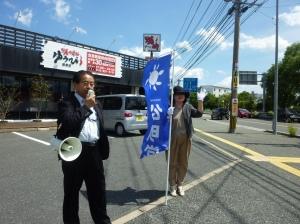 終戦記念日街頭演説の様子