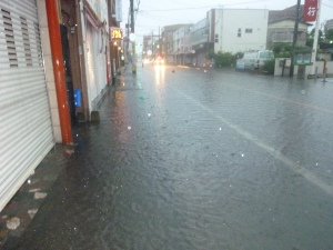糸島市内の冠水時の状況
