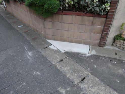 コンクリートの蓋に切り替わった側溝
